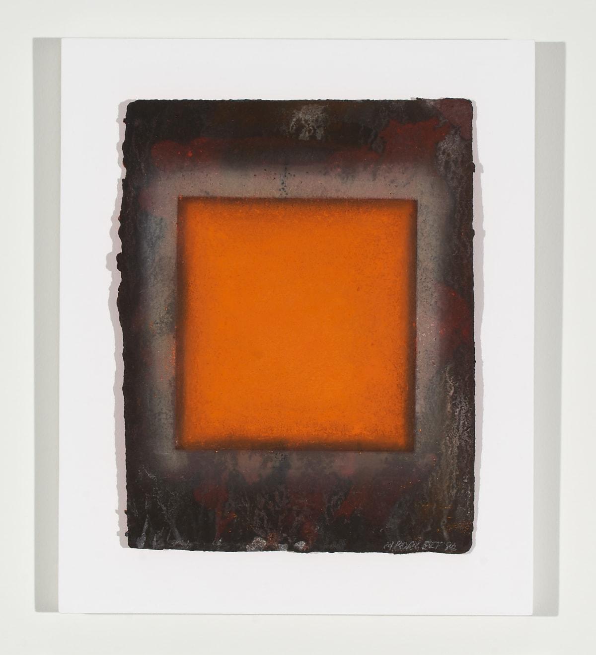 Marion Borgelt Orange Leaf: No 2, 1994 pigment on handmade paper in Perspex box 40.5 x 33.5 x 5 cm
