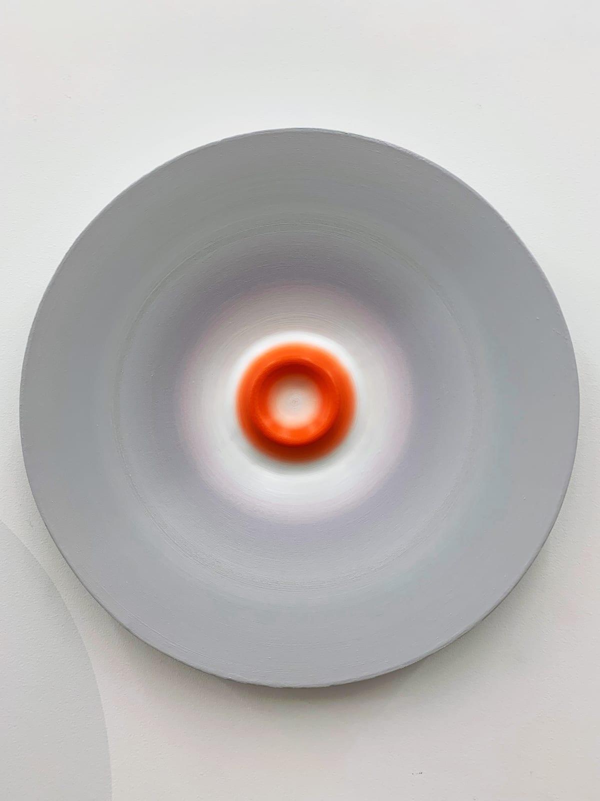 Marion Borgelt Luminous Void: Piece No 19, 2019 oil, canvas, timber, 3D element 61cm ø x 6cm