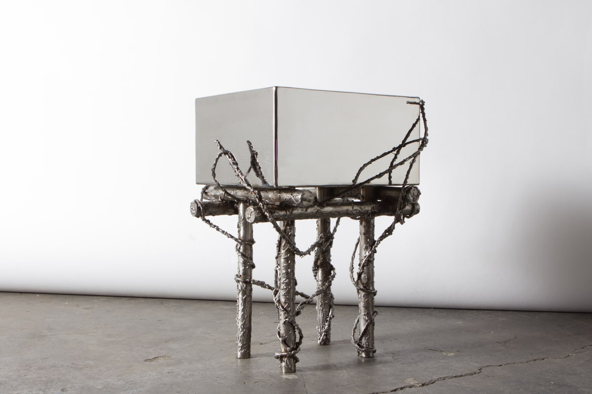 Michael Gittings When We're Gone Side Table, 2019 Stainless Steel 45 x 25 x 30 cm Unique