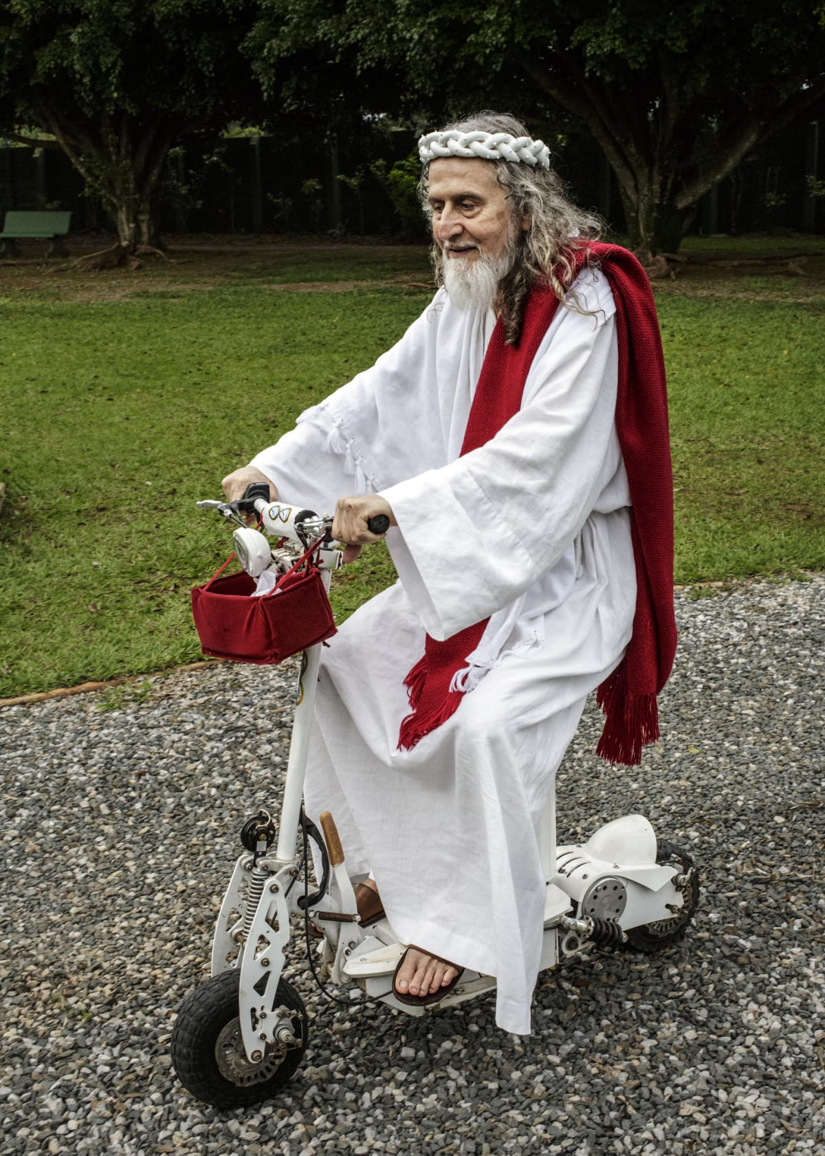 Jonas Bendiksen, INRI Cristo on electrical bike, Brazil, 2014