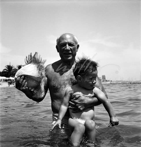 Lee Miller, Picasso and his son Claude, Golfe Juan, France, 1949