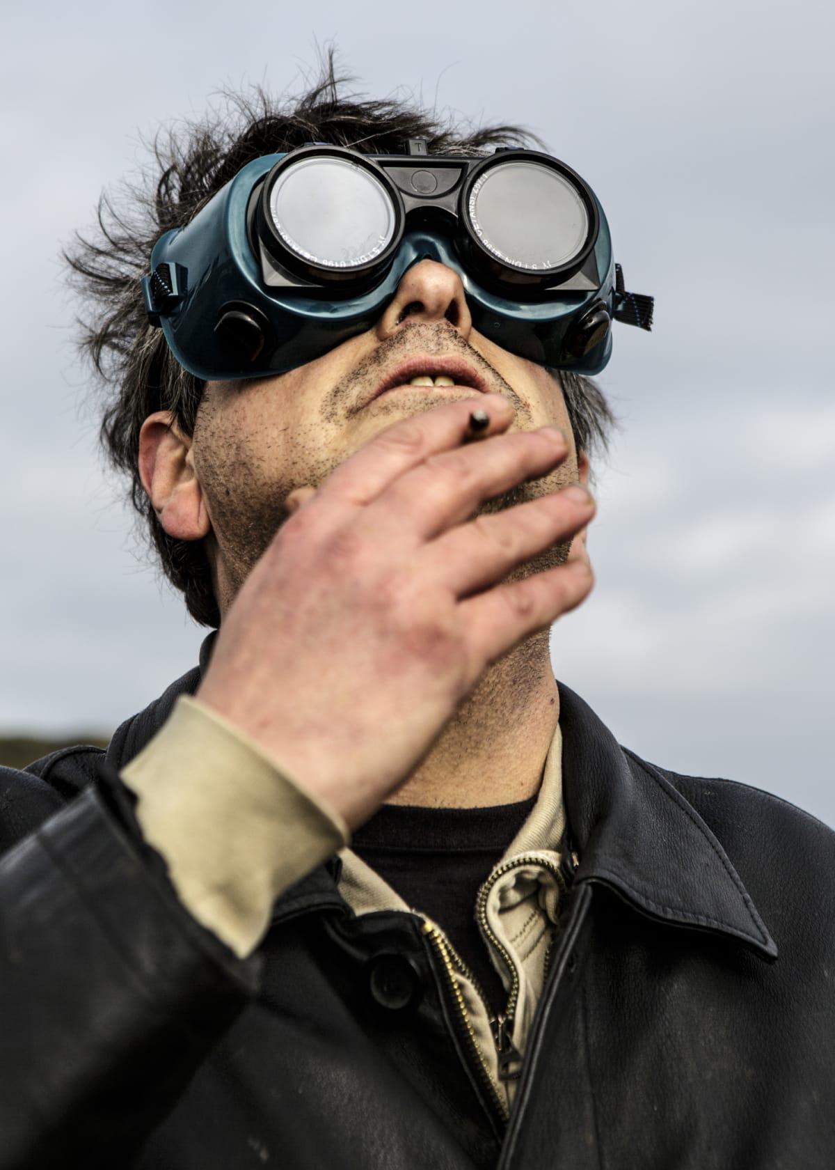Jonas Bendiksen, David watching solar eclipse, UK, 2015