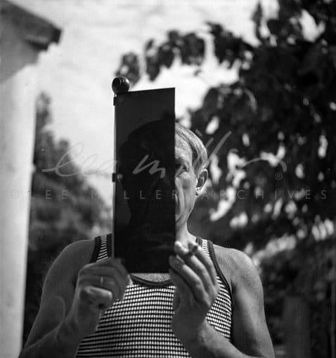 Lee Miller, Picasso and sun visor, Hotel Vaste Horizon, Mougins, France, 1937