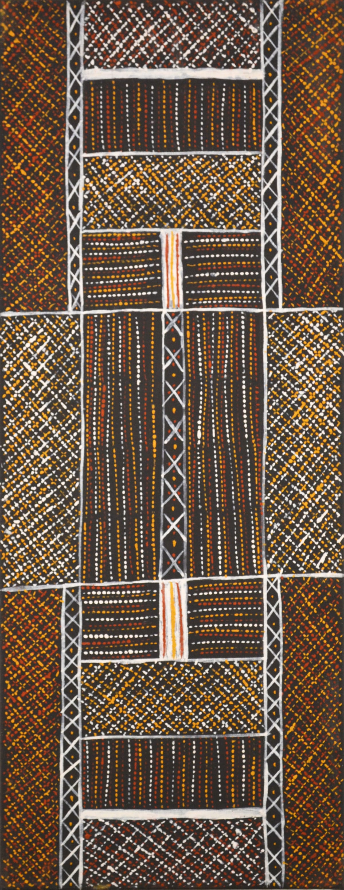 Brian Farmer Illortamini Jilamara ochre on canvas 80 x 30 cm
