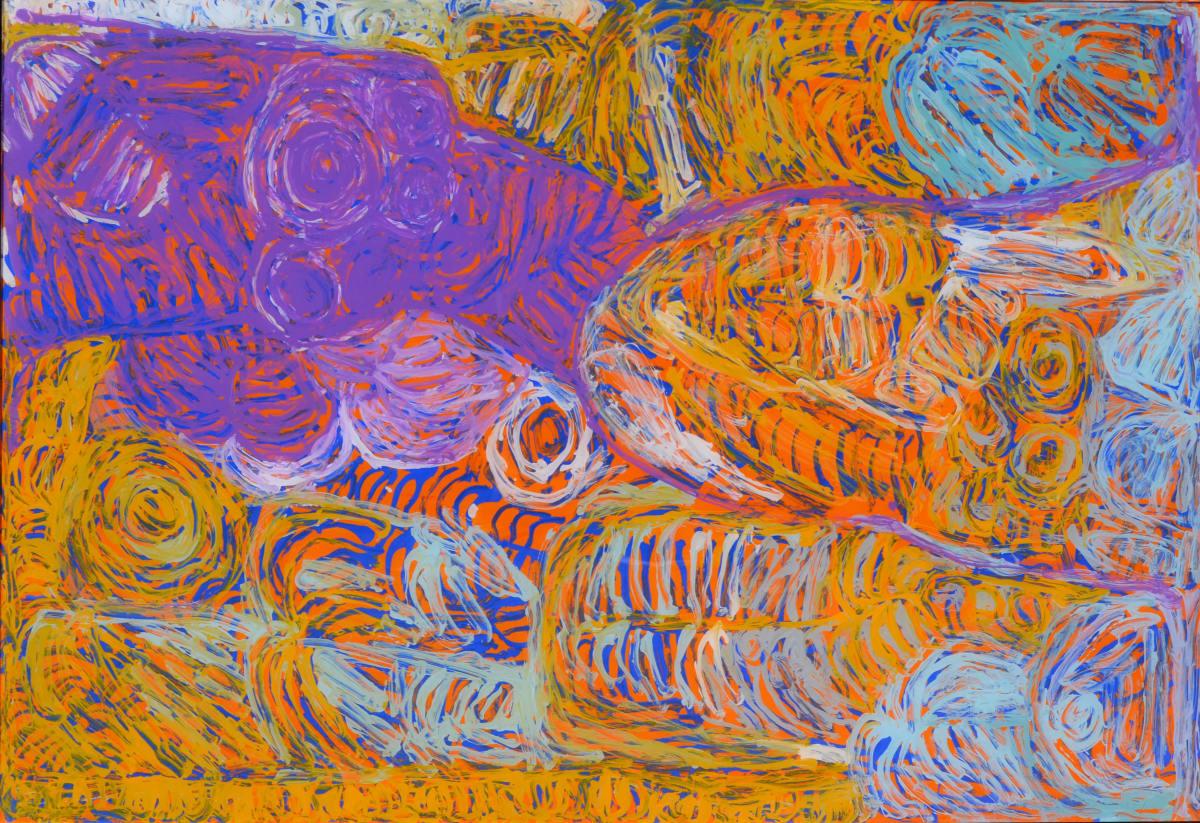 Sonia Kurarra Martuwarra acrylic on polycarbonate 60 x 90 cm