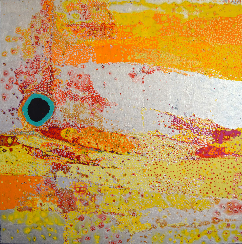 Daniel Walbidi Kiriwirri Jila acrylic on linen 100 x 100 cm