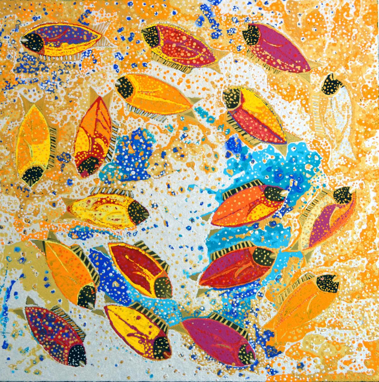 Daniel Walbidi Fish 2014 acrylic on linen 100 x 100 cm
