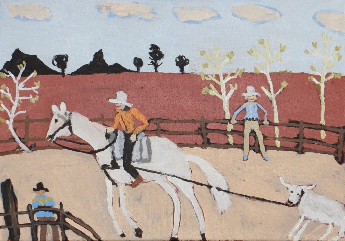 Jimmy Pompey Cowboy Story acrylic on linen 36 x 51 cm