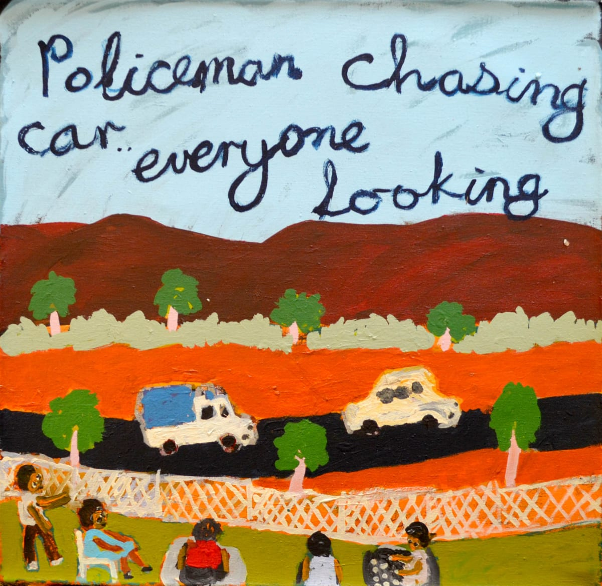 Sally M Mulda Policeman chasing car everyone looking acrylic on linen 61 x 61 cm