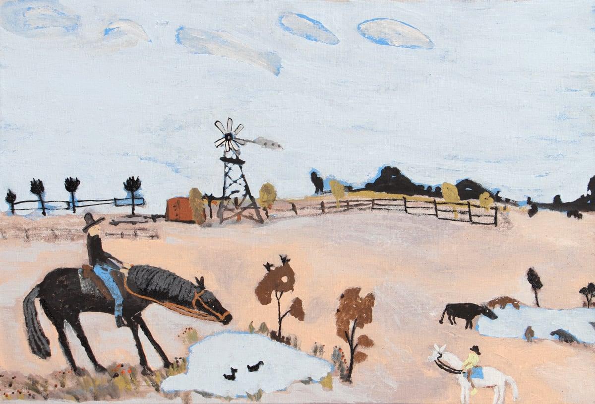 Jimmy Pompey Cowboy Story acrylic on linen 61 x 91 cm