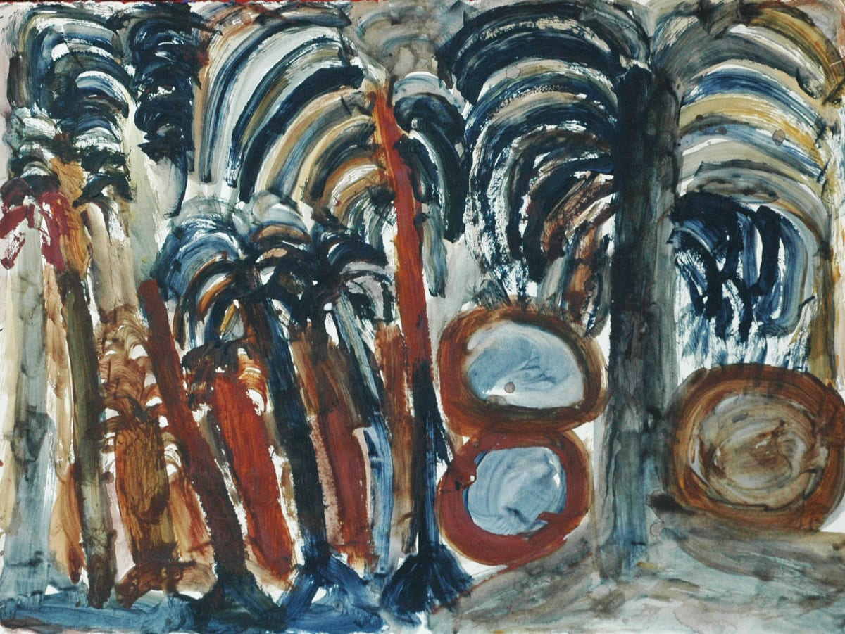 Sonia Kurarra Palm trees and Pamarr acrylic on paper 75 x 56 cm