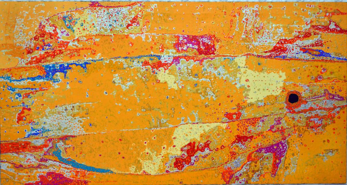 Daniel Walbidi Kirriwirri 2013 acrylic on linen 95 x 180 cm