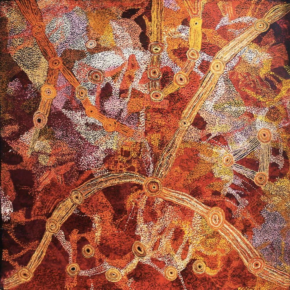 Sylvia Kanytjupai Ken Seven Sisters acrylic on linen 197 x 196 cm