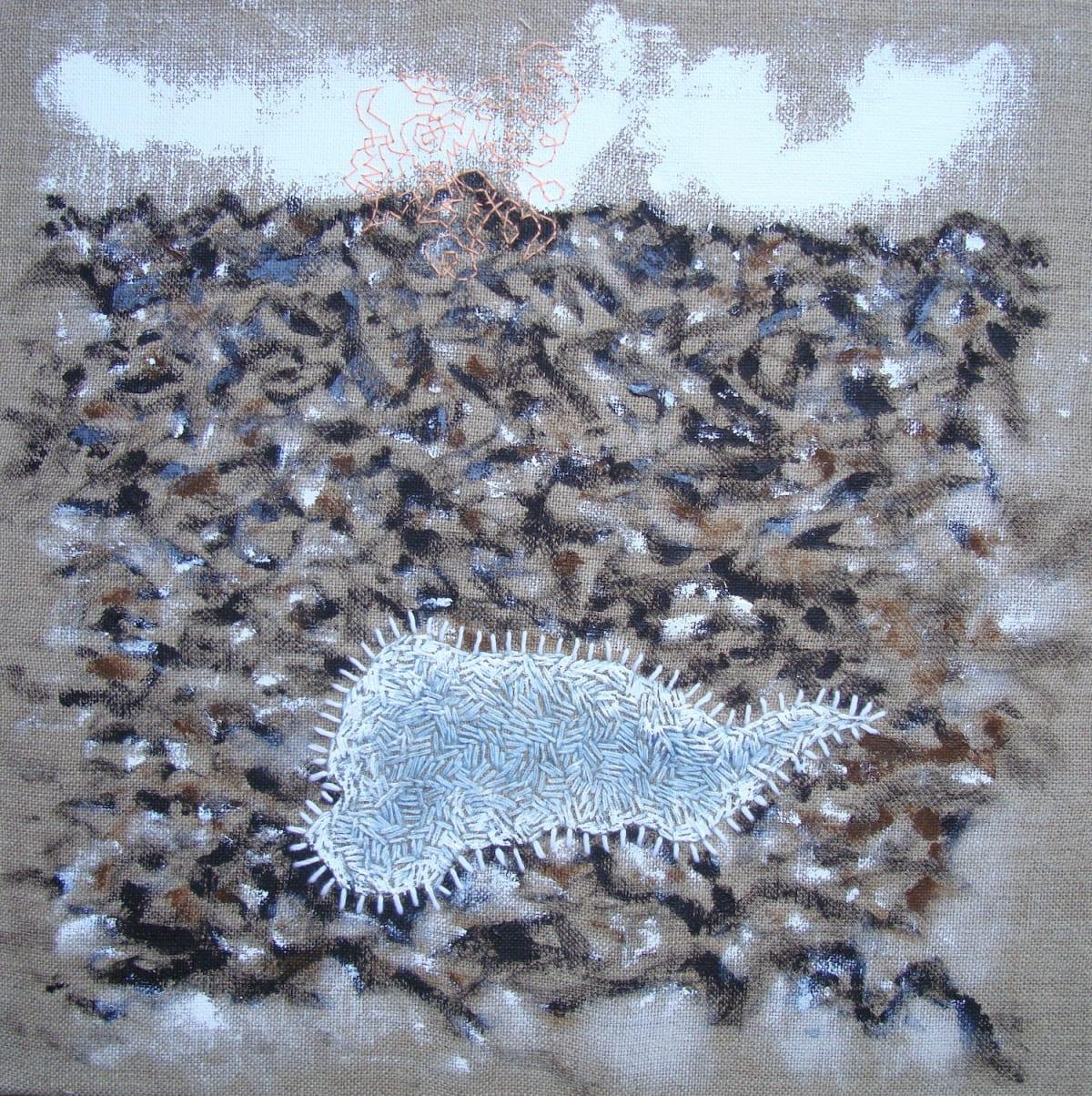 Stephen Eastaugh TARNS acrylic, thread, linen 35 x 35 cm