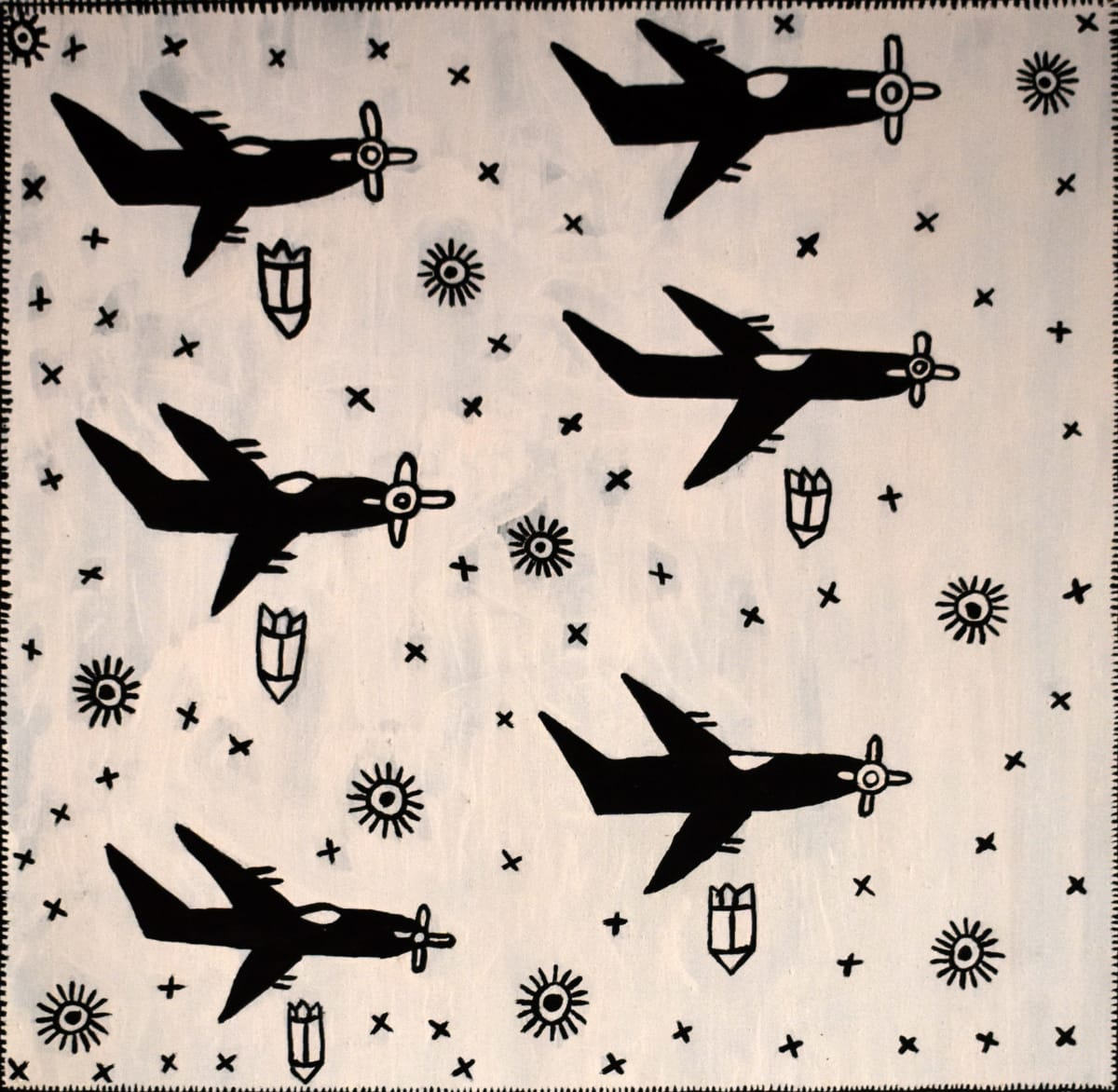 Pauletta Kerinaiua The Bombing of Darwin (Black and White) natural ochres on linen 70 x 70 cm
