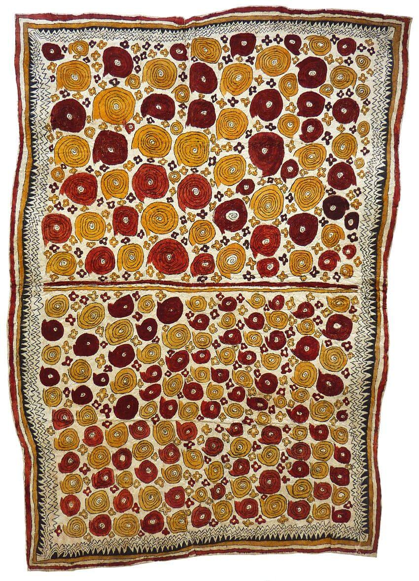 Diona Jonevari (Suwarari) Vaigu dere, jij'e, dahoru'e ohu'o buborian o'e natural pigments on nioge (barkcloth) 105 x 75 cm