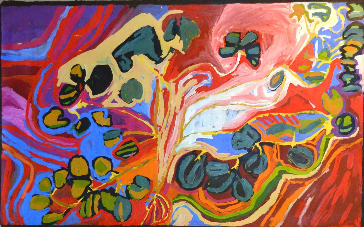 Barney Wangin Ngayuku ngura - My Country acrylic on linen 122 x 198 cm