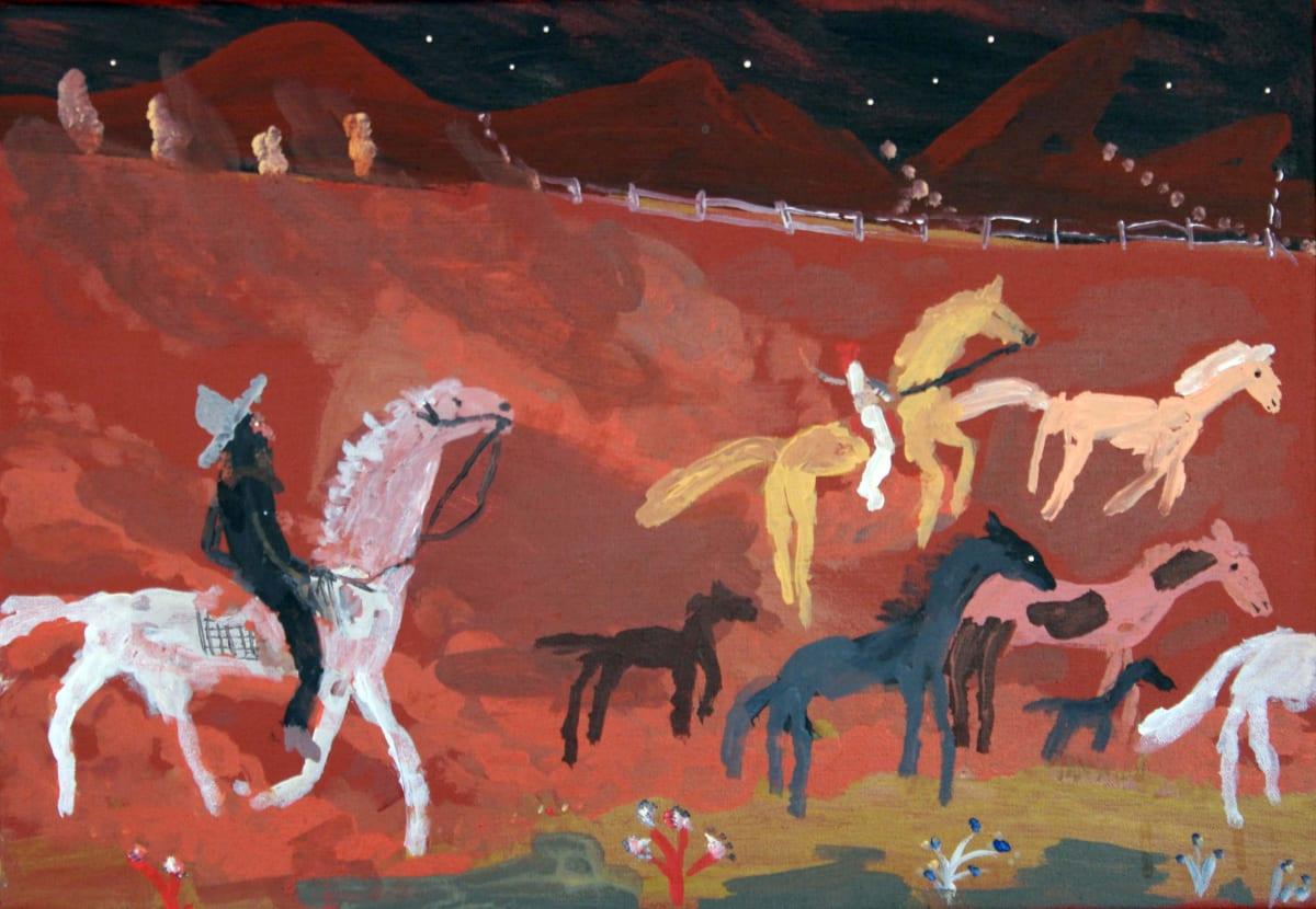 Jimmy Pompey Cowboy Story acrylic on canvas 36 x 51 cm