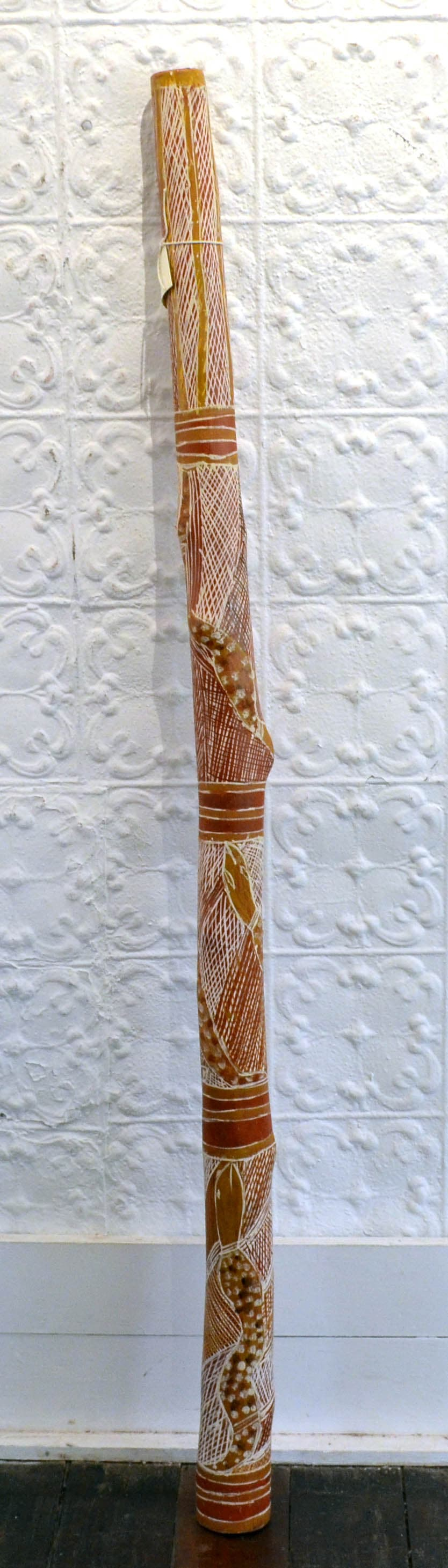 Barrupu Yunupingu (Rita) Yidaki natural earth pigment on wood 159 x 10 cm