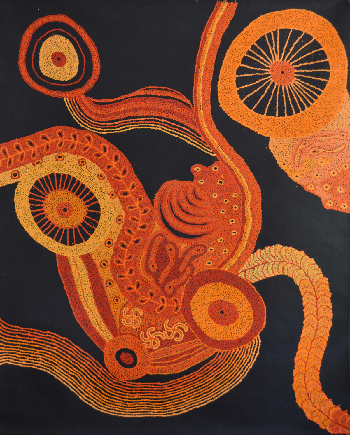 Marina Warari Brown Pumani Ngayuku Ngura (My Home) acrylic on linen 152 x 122 cm