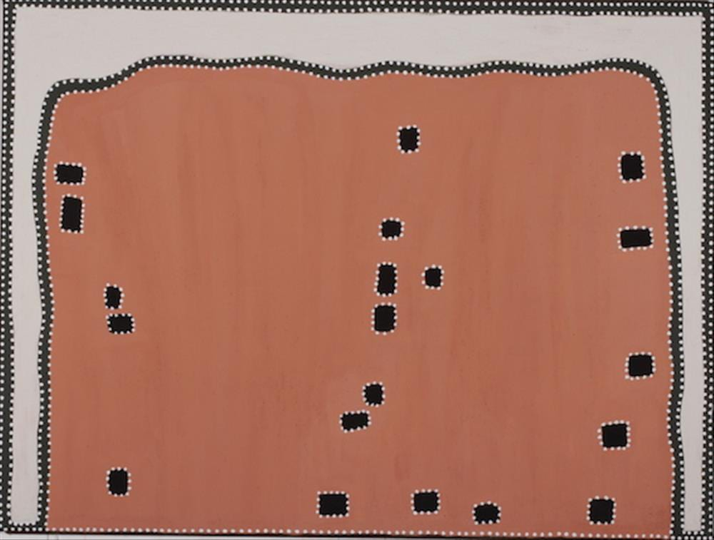 Kathy Ramsay Juwurlinji, Bow River Coummunity natural ochre and pigments on canvas 90 x 120 cm