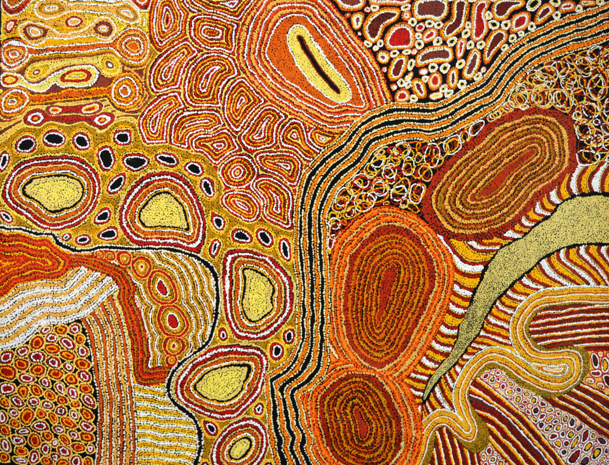 Rini Tiger Ngintaka Tjukurpa (Perentie Man Creation Story) acrylic on linen 198 x 152 cm