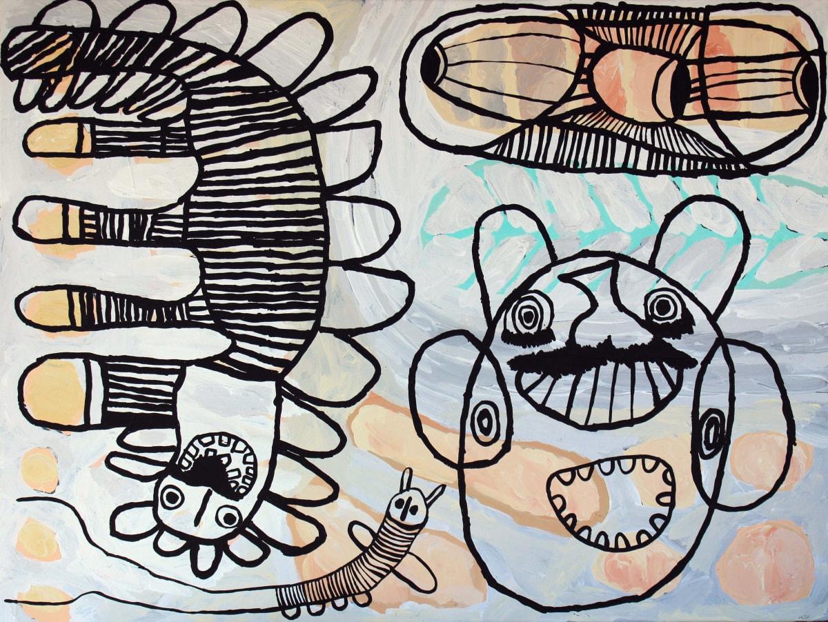 Tiger Yaltangki Mulpa Wiru Mamutjara (Good Friend Ghost Story acrylic on canvas 76 x 101 cm