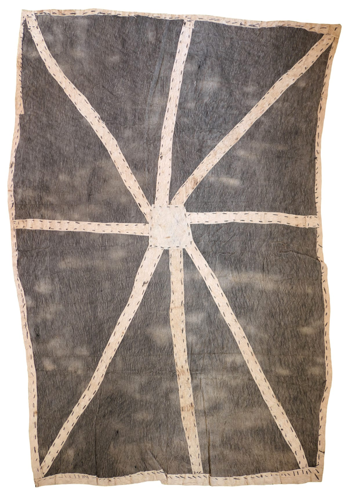 Brenda Kesi (Arire) Wo'ohohe (Ground-burrowing spider) natural pigments on nioge (barkcloth) 104 x 70 cm