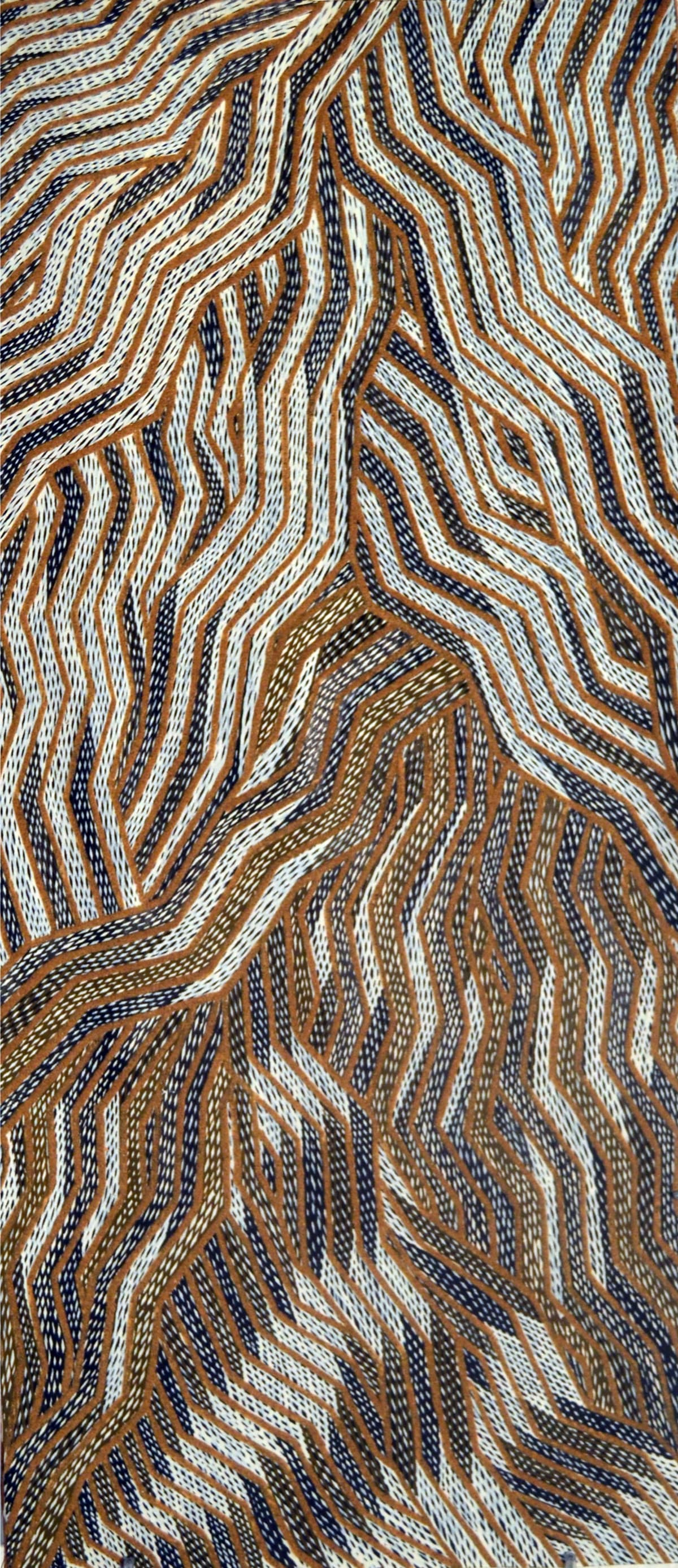Lamangirra #2 Gumana Garraparra natural earth pigment on bark 92 x 38 cm