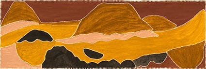 Kathy Ramsay Where two rivers meet natural ochres on canvas 50 x 150 cm