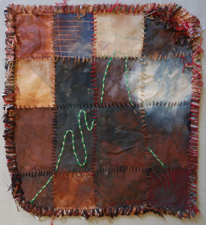 Stephen Eastaugh MUDMAPS 2 (Down the track way gone) Broome acrylic, thread, linen 45 x 45 cm
