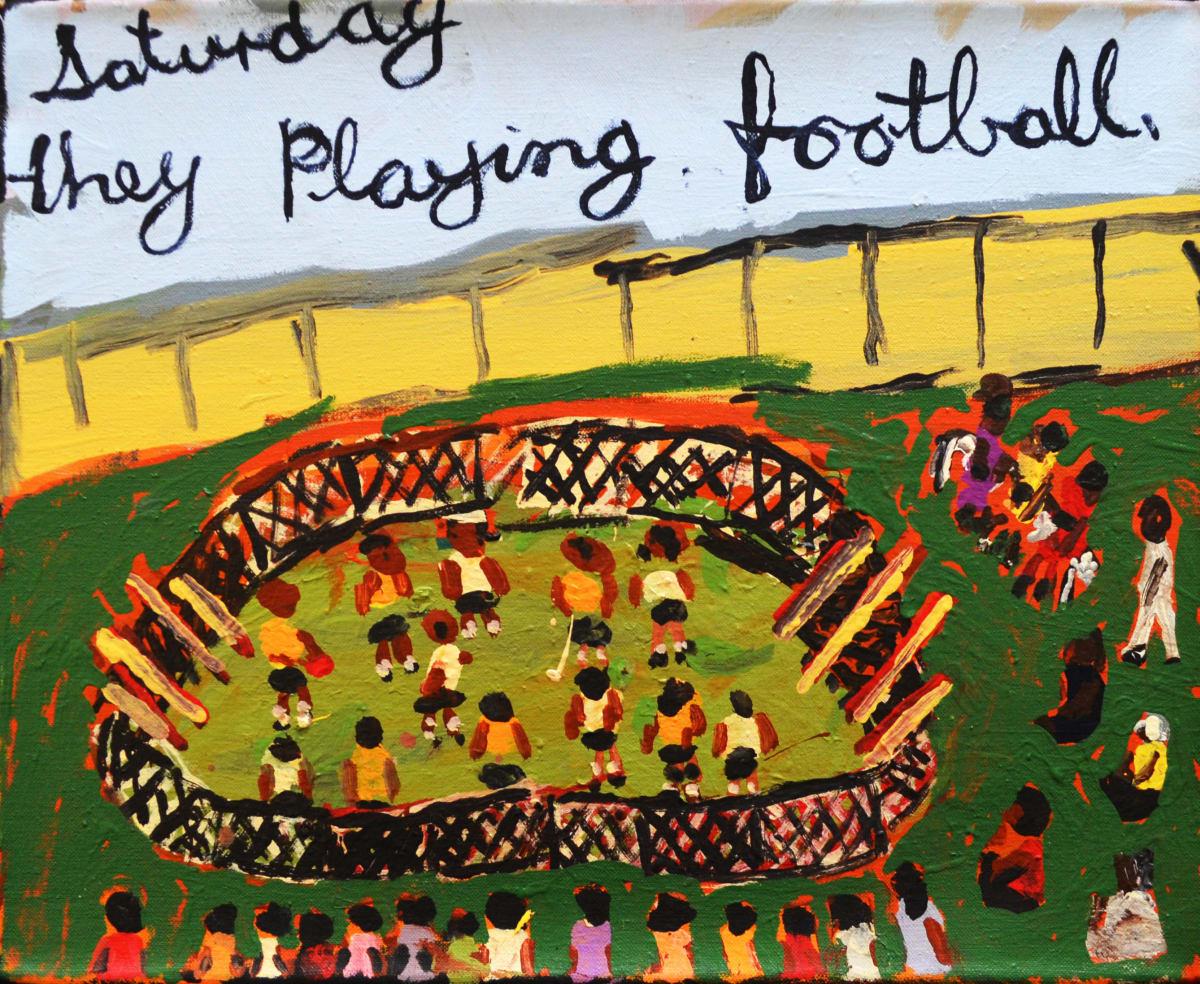Sally M Mulda Saturday they play football acrylic on linen 40.6 x 50.8 cm