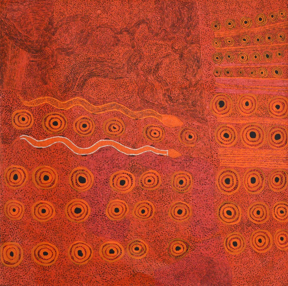 Ginger Wikilyiri Tali Tjukurpa 2014 acrylic on linen 100 x 100 cm