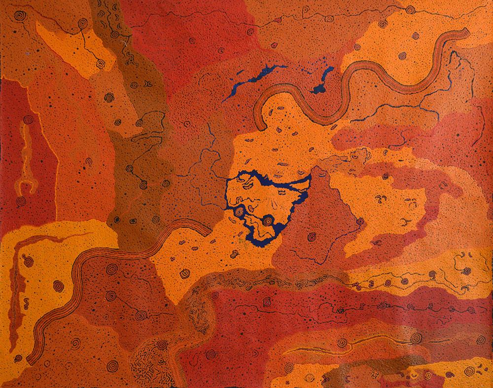 Keith Stevens Wanampi Tjukurpa acrylic on linen 120 x 150 cm