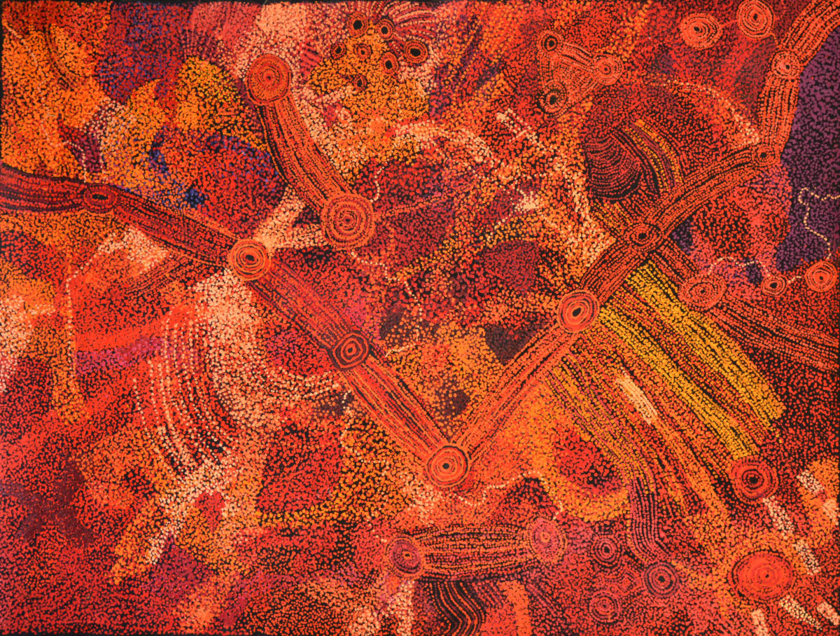 Sylvia Kanytjupai Ken Seven Sisters 2014 acrylic on linen 152.5 x 197 cm