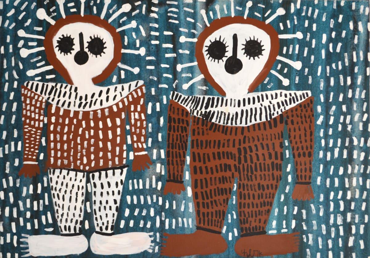 Mabel King Wandjinas acrylic on canvas 88 x 121 cm