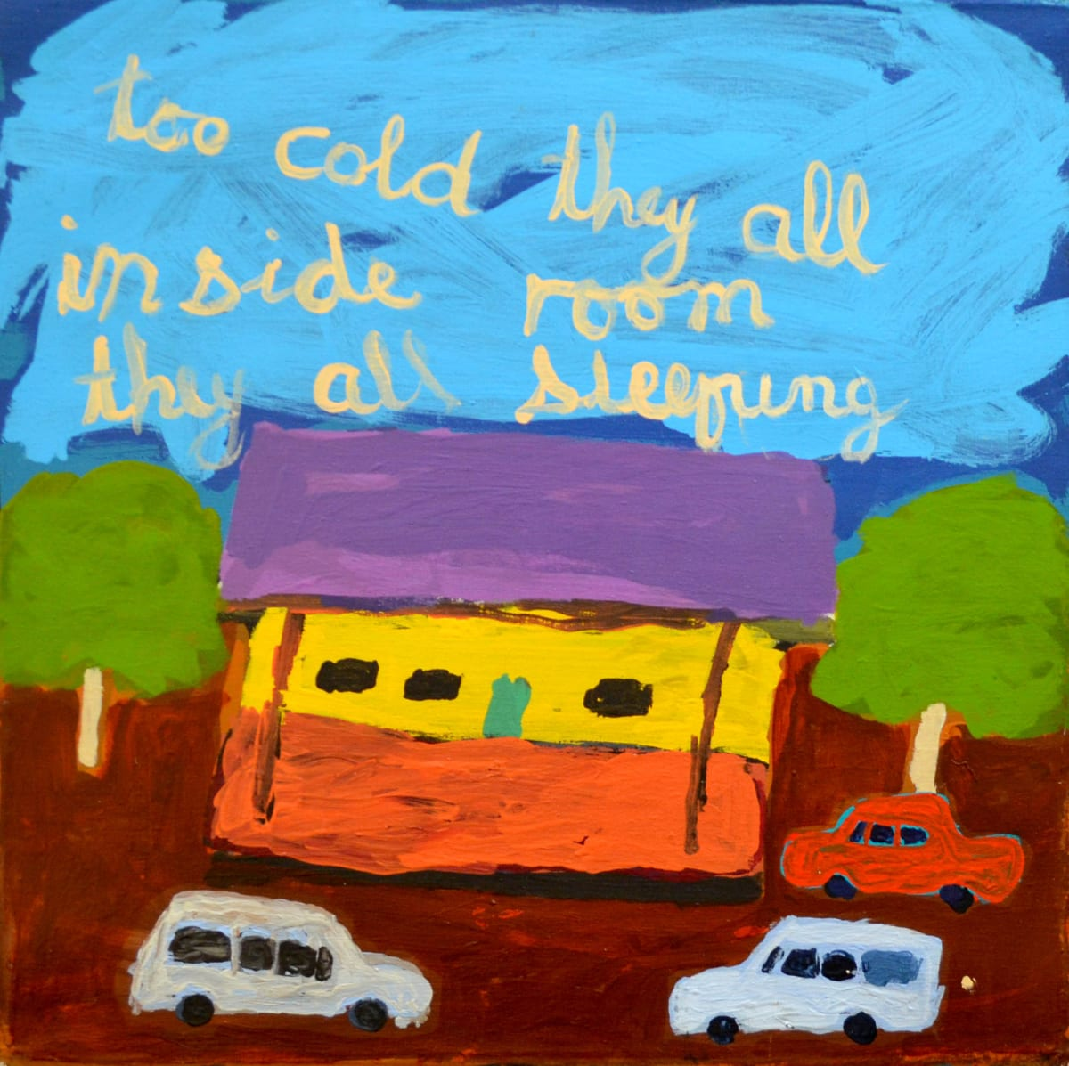 Sally M Mulda Too Cold, Abbotts Camp acrylic on linen 56 x 56 cm