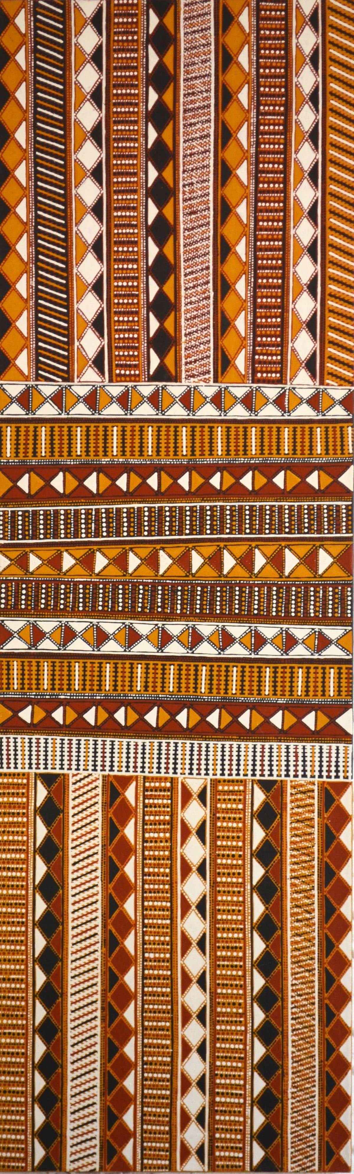 Janice Pungautiji Murray Jilamara natural ochres on linen 200 x 60 cm