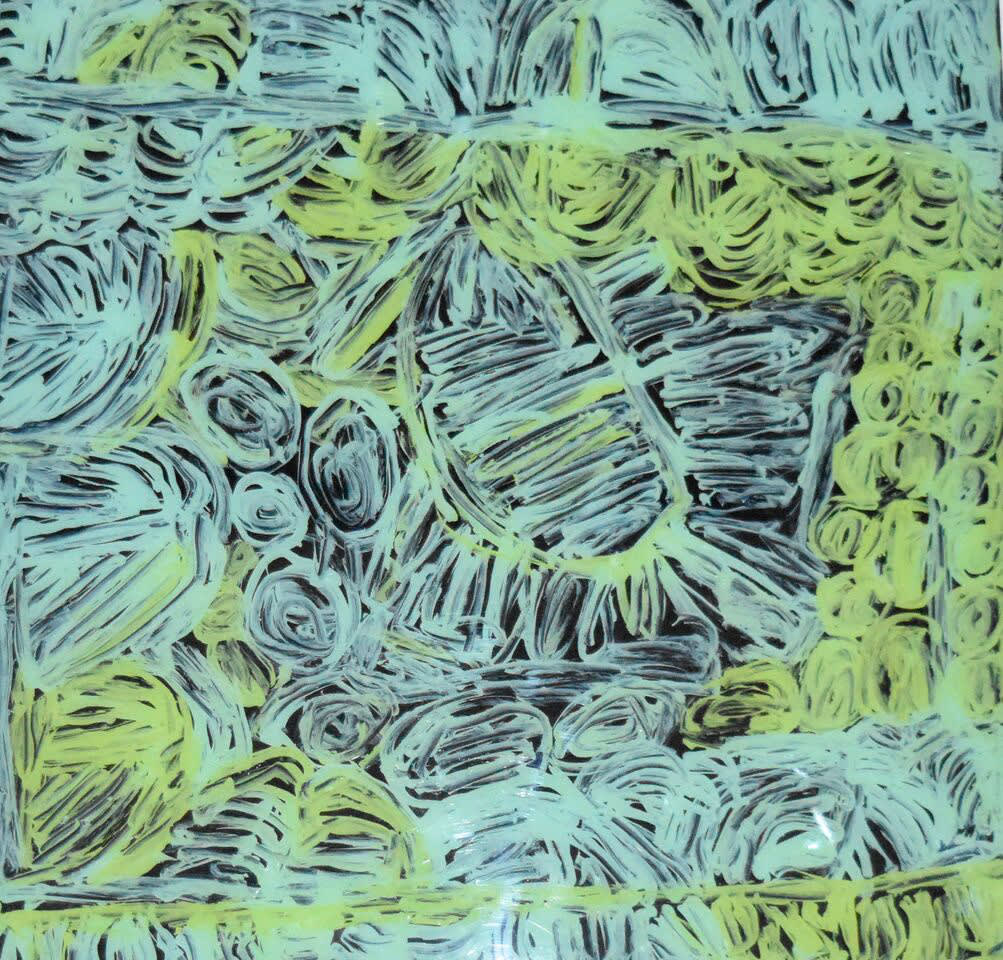 Sonia Kurarra Martuwarra acrylic on polycarbonate 60 x 60 cm