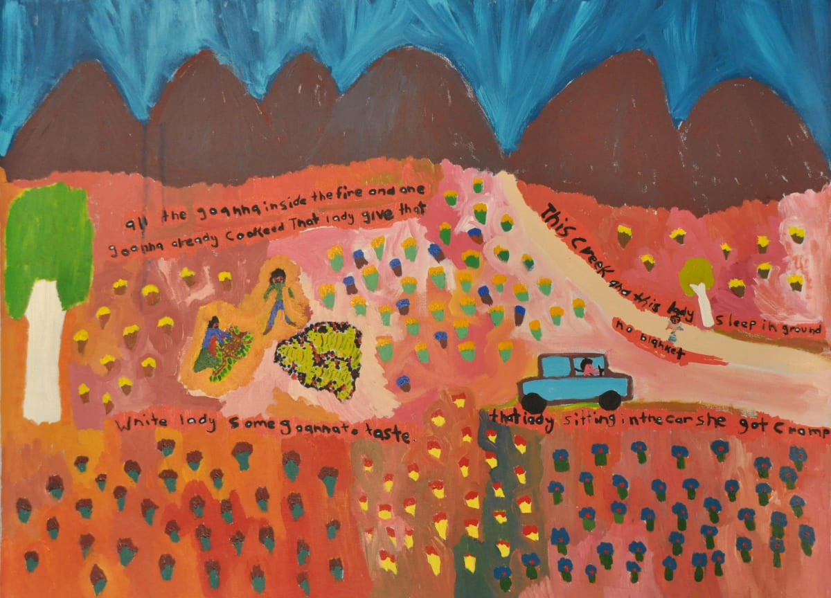 Margaret Kunmanara Nampitjinpa Boko Camping got no blanket - sleeping in the ground. What you going to do? acrylic on canvas 90 x 120 cm