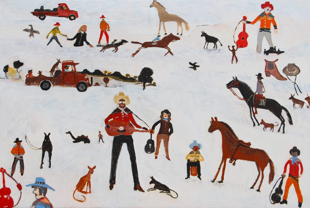 Jimmy Pompey Cowboy Story acrylic on canvas 101 x 152 cm