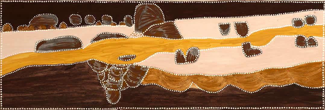 Kathy Ramsay Jack's Yard natural ochres on canvas 50 x 150 cm