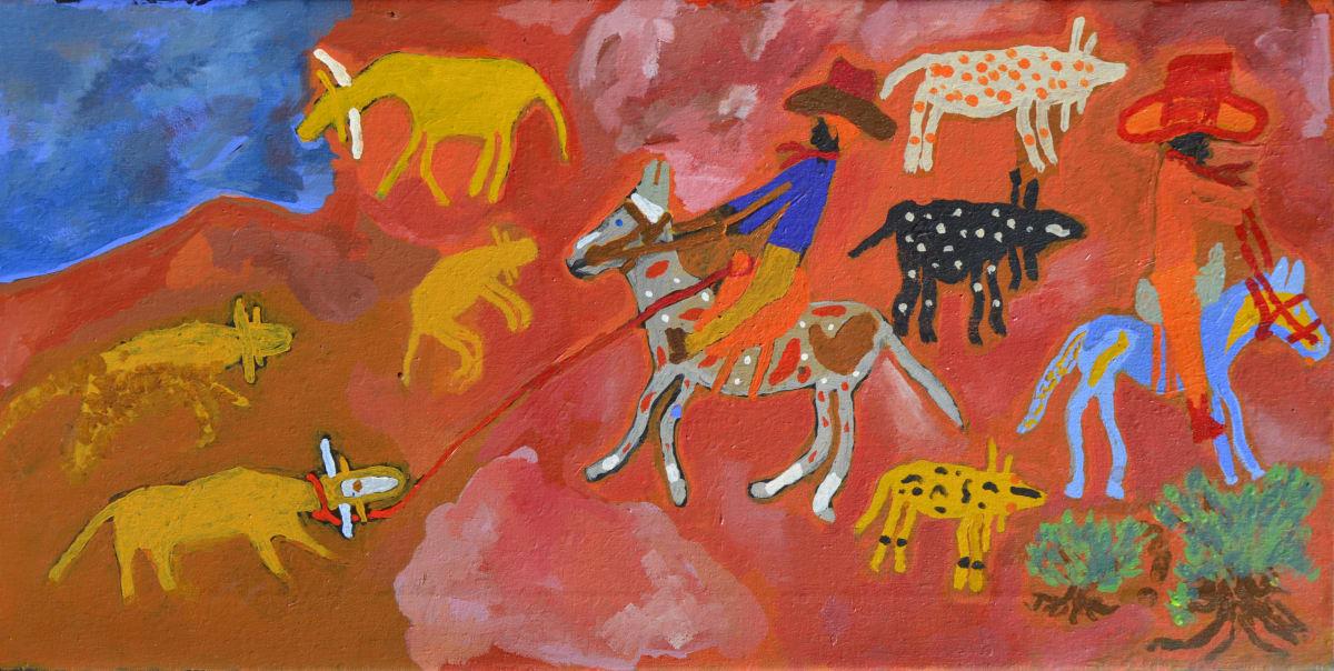 Rupert Jack Stockman Story acrylic on linen 50 x 100 cm