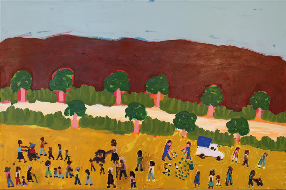 Sally M Mulda People Walking Past Todd River acrylic on linen 94 x 141 cm