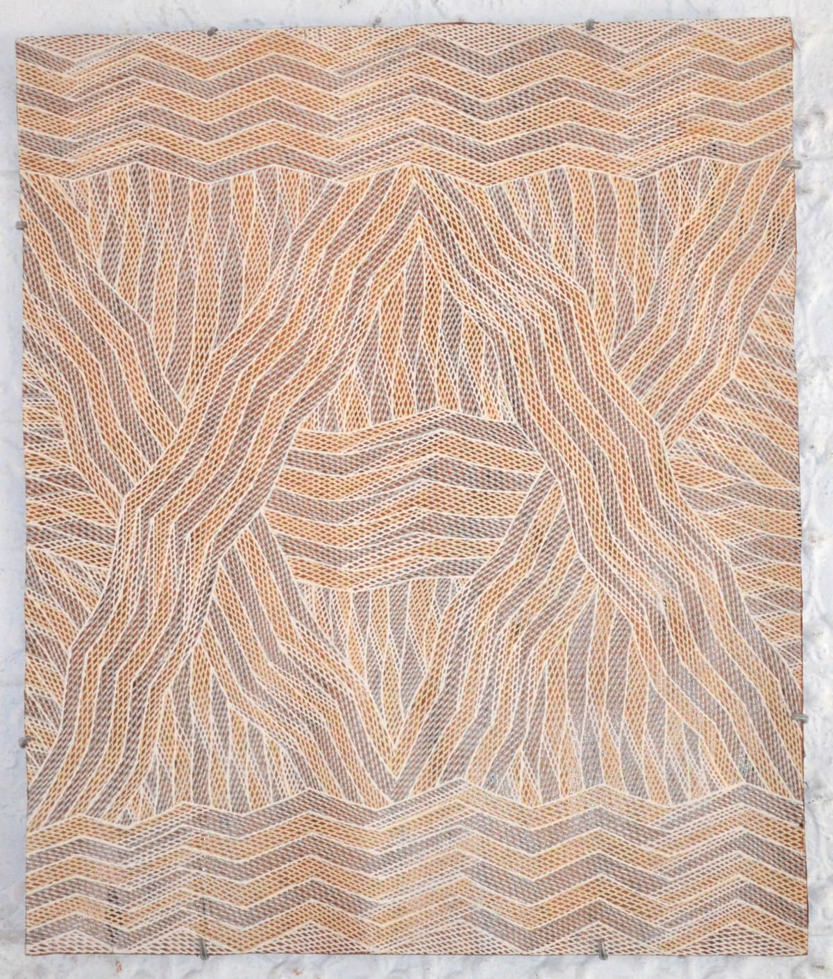 Manini Gumana Garrapara natural earth pigment on bark 74 x 63 cm