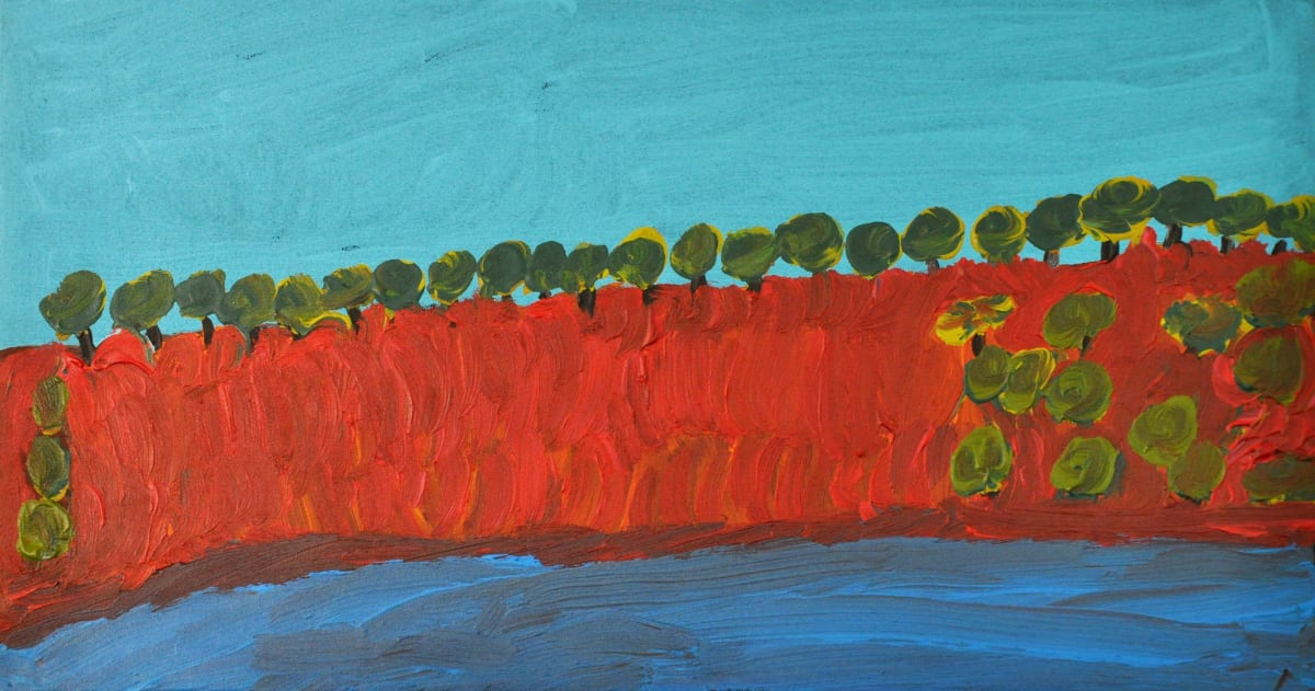 Alison Inkamala Finke River acrylic on canvas 30 x 60 cm