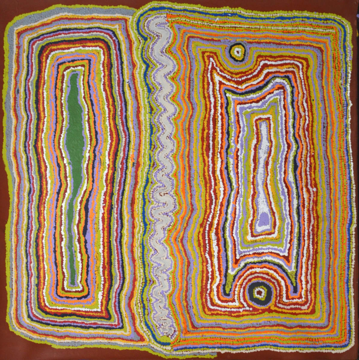 Jimmy Donegan Pukara acrylic on linen 122 x 121 cm