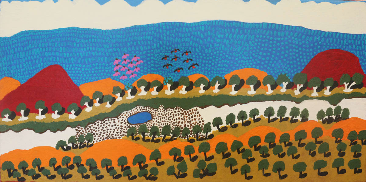 Grace Kemarre Robinya Creeks,Rivers,Salt Lakes acrylic on linen 44.5 x 89.3 cm