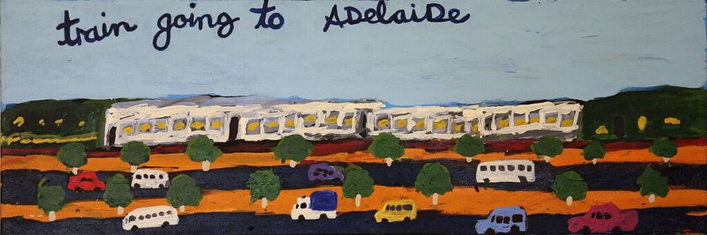 Sally M Mulda Train Going to Adelaide acrylic on linen 41 x 121 cm