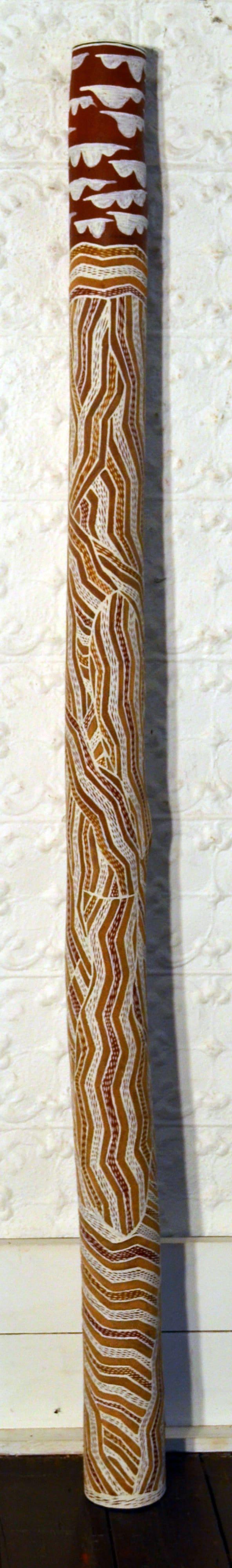 Lamangirra #2 Gumana Garraparra Larrakitj Ochre on wood 178 x 10 x 10 cm
